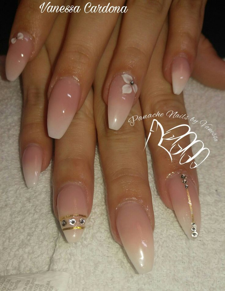 Baby Boomer Acrylic Faded Pink And White Ombre Acrylic Nails Coffin Shape Swarovski 3d Panache