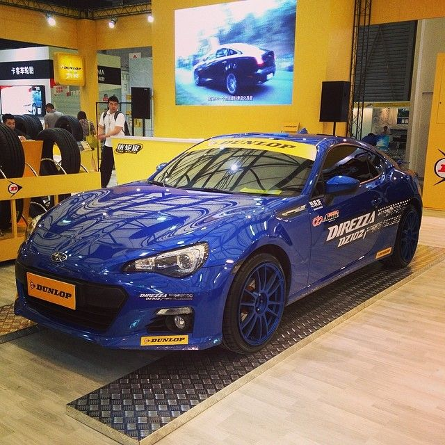 A #Dunlop-shod #Subaru BRZ at the China auto parts & service show 2014