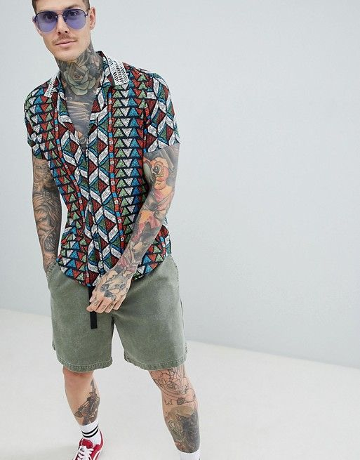 4ca5fee84d7 DESIGN festival oversized overhead shirt in geo-tribal print with ...