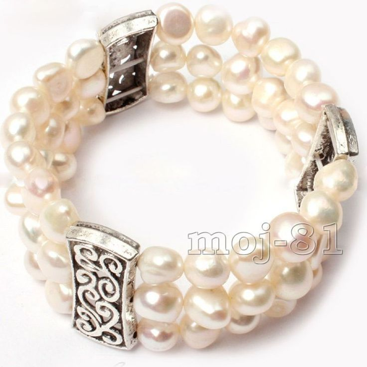 Fashion 3 Rows Natural 8-9Mm White Freshwater Cultured Pearl Stretch Bracelet