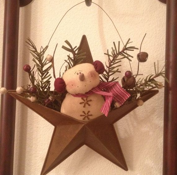 This Listing is for One (1) Handmade Primitive Snowman Rusty Tin Star Ornament  This adorable primitive ornament is handmade using  a rusty tin