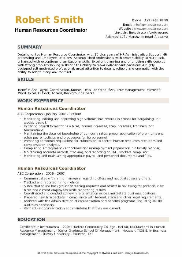 Human Resources Coordinator Resume Samples Qwikresume Marketing Resume Resume Examples Manager Resume
