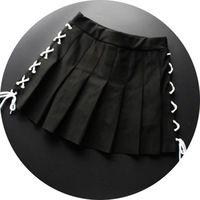 Women's Cool Japanese Harajuku Punk Winter Lace-Up Pleated Skirt Empire Waist Lolita Mini Skirt Color Black