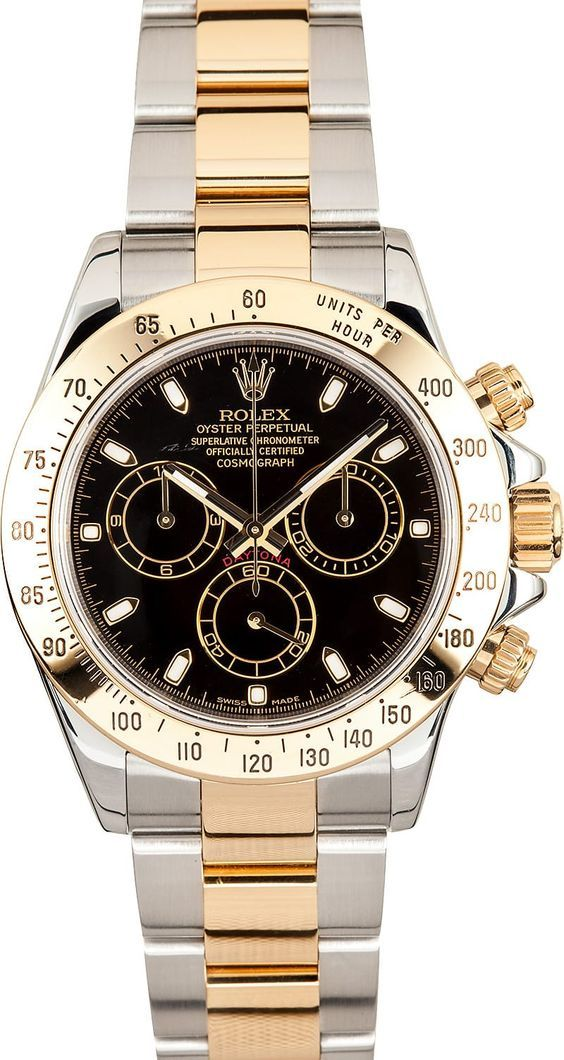 Manufacturer: Rolex Model Name/Number: Daytona 116523 Serial/Year: D 2005/2006 Grade: (What's This?) II/III - Slight price deduction for small scuff on dial as indicated in photos Gender: Men's Features: Automatic movement, chronograph, scratch-resistant sapphire crystal, 44 jewels, waterproof screw-down crown Case: Stainless steel w/18k yellow gold engraved tachymeter (40mm) Dial: Black w/ raised white luminous markers and black sub dials Bracelet: Stainless