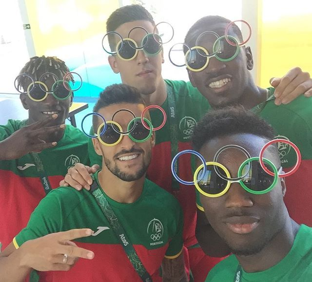 Hanging out with some cool  Olympians after giving them these cool shades in the Olympic Village #football  #Portugal @official_carlosmane36 @joelpereira1 @brunovarela12 @edgar_ie  #rio2016 #olympics