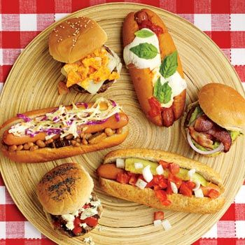 Hot Dog Bar This idea may work well with BBQ stations that include one large table where you can put toppings on sandwiches. Thinking amazing different foods, dressings, toppings, cheeses... cause you can incorporate into BBQ stations (I'm thinking pulled pork, BBQ chicken etc)