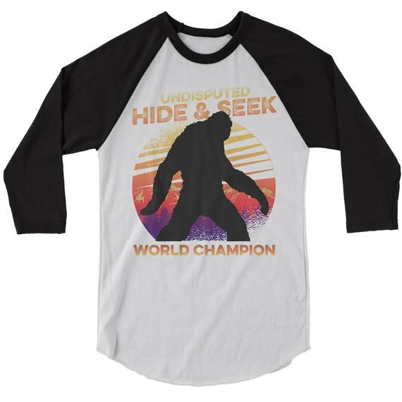 7761b0f3e Men's Funny Bigfoot T-Shirt Hide And Seek World Champion Sasquatch Tee  Grunge Hipster Shirt Raglan 3/4 Sleeve