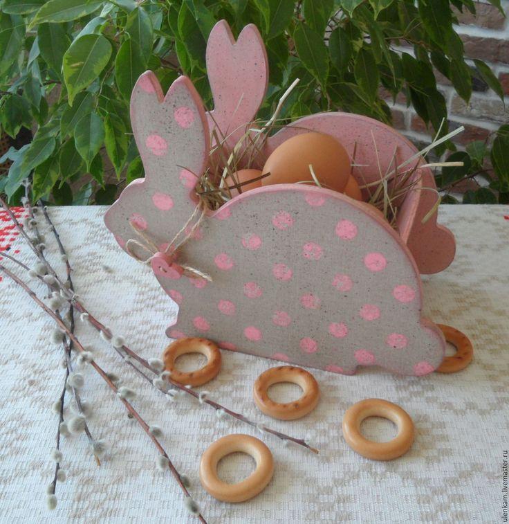 """Купить Пасхальный короб """"Зайчик"""" - розовый, Пасха, пасхальный сувенир, пасхальный подарок, пасхальный декор"""
