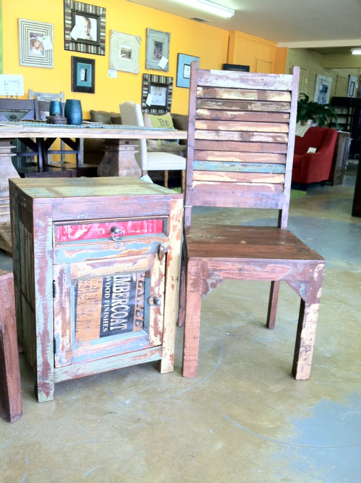 Amazing Solid Wood Chairs Created From Reclaimed Wood Paired With Small Accent  Table With Vintage Sign Door