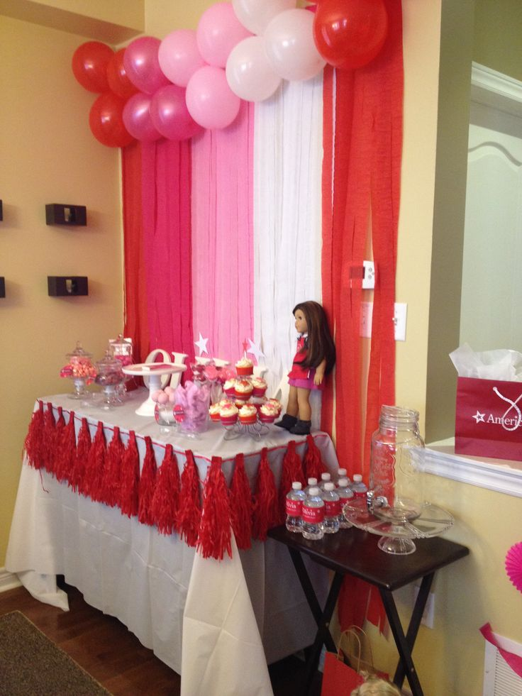 American Girl Party- Grace Thomas' Dessert Table- Cupcakes, cotton candy, marshmellow pops, cake pops, gum balls, sour cherries and pink popcorn