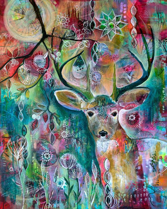 Deer at Twilight, Original Acrylic Painting on Canvas ...