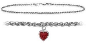 10K White Gold 9 Inch Wheat Anklet with Created Ruby Heart Charm Elite Jewels. $179.50