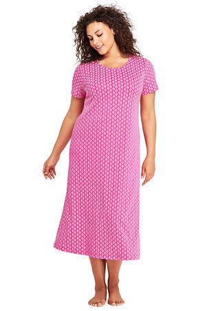 26ed91078e7 Women s Supima Patterned Short Sleeve Calf-length Nightdress ...