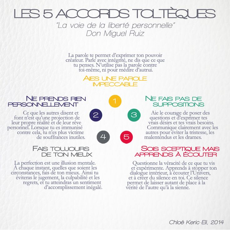 Les 5 Accords Toltèques, par Don Miguel Ruiz. #life #coaching #inspiration #motivation