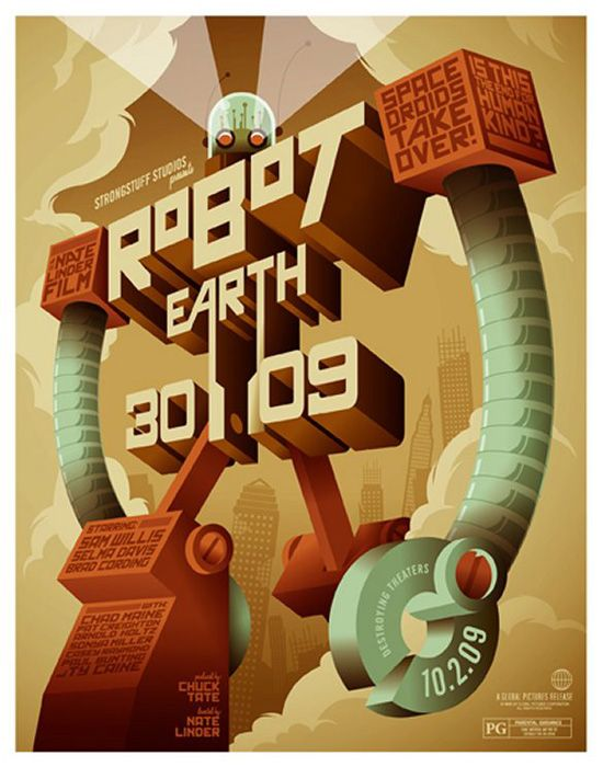 robot graphic: Movie Posters, Earth 3009, Typography Posters, Posters Design, Robots Earth, Graphics Design, Art Posters, Toms Whalen, 3D Typography