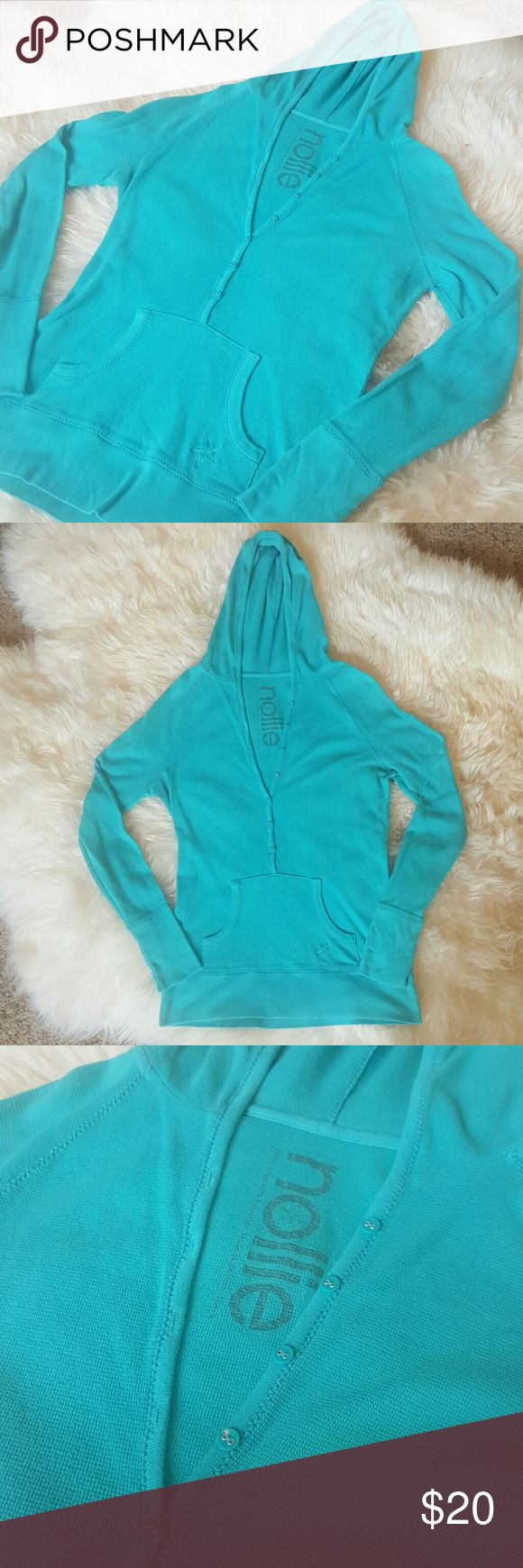 Women's Large Nollie Long Sleeve Henley Women's Nollie Long Sleeve Hooded Henley - Partial Button Up - Turquoise - Front Pocket - Size Large Nollie Tops Tees - Long Sleeve