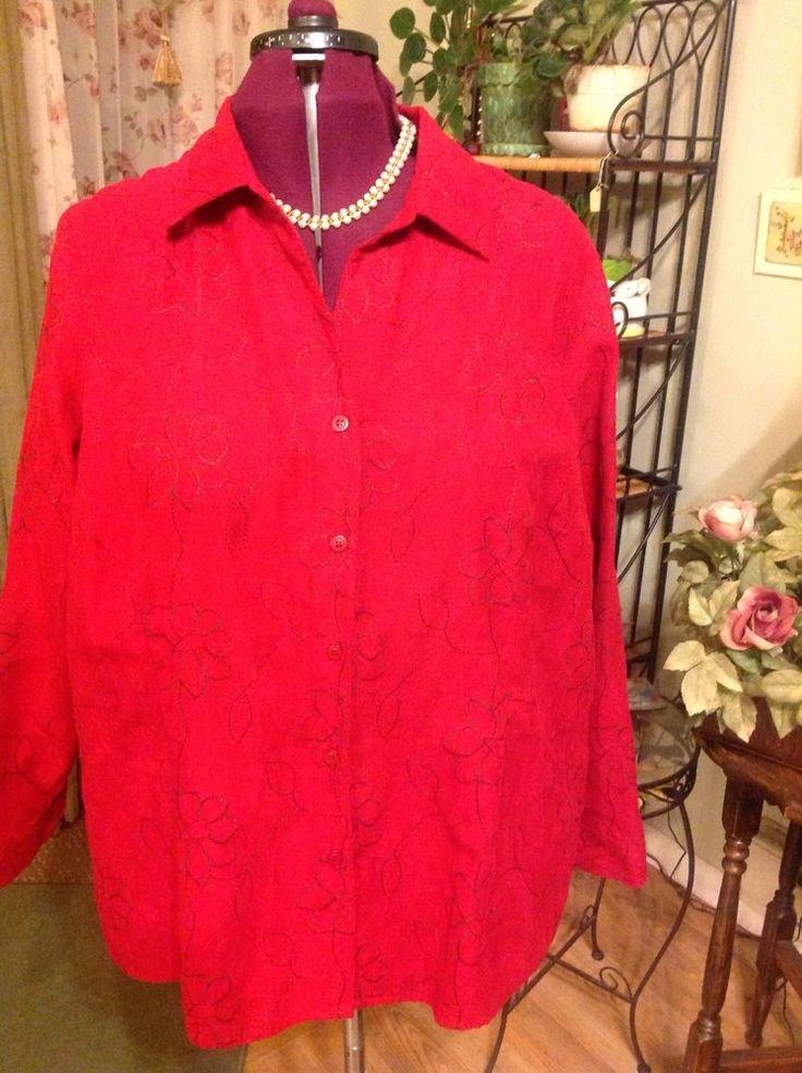 Plus Size Size 2X Long Sleeve Sag Harbor Blouse\Shirt #SAGHARBOR #ButtonDownShirt #ANY