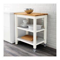 IKEA - STENSTORP, Roltafel, Voor extra opberg-, afzet- en werkruimte.2 vaste planken van roestvrij staal, een hygiënisch, sterk, slijtvast en onderhoudsvriendelijk materiaal.Het werkblad heeft een toplaag van massief hout, een slijtvast natuurmateriaal dat indien nodig kan worden geschuurd en behandeld.Goede milieukeuze, omdat de constructie met massief hout op spaanplaat efficiënt gebruikmaakt van hulpbronnen.