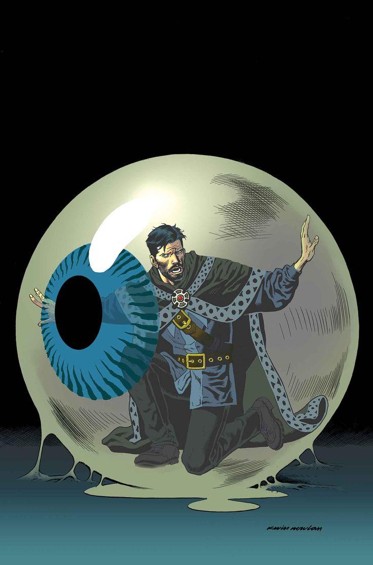 """DOCTOR STRANGE #15Sangre en el Éter"""" continúa como la Galería de los Pícaros del Doctor Strange ¡todos toman su tiro en un Sorcerer Supremo debilitado! Durante el PECADO ORIGINAL, el Vigilante fue asesinado y sus ojos fueron removidos. ¡Un ojo cayó en manos del Orbe! Con ese inmenso poder, el Orbe ha puesto sus miras en Doctor Extraño!"""