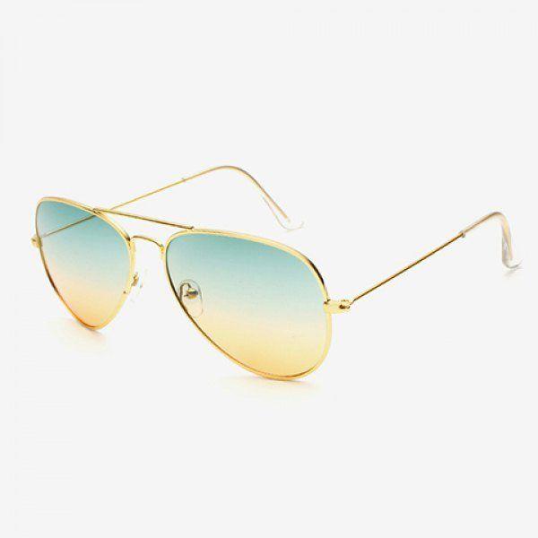 Chic Gradient Color Lenses Golden Metal Sunglasses For Women Aviator