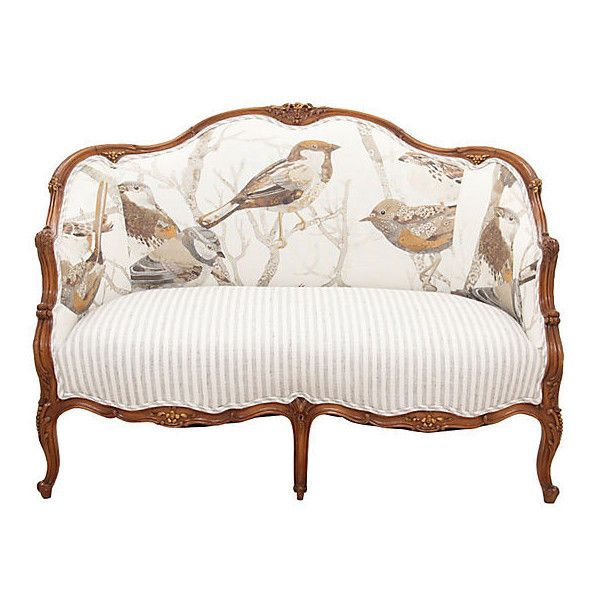 Pre-Owned Louis XV Sparrow Settee ($2,685) ❤ liked on Polyvore featuring home, furniture, sofas, sparrow furniture, louis xv style furniture, floral couch, second hand furniture and louis xv settee
