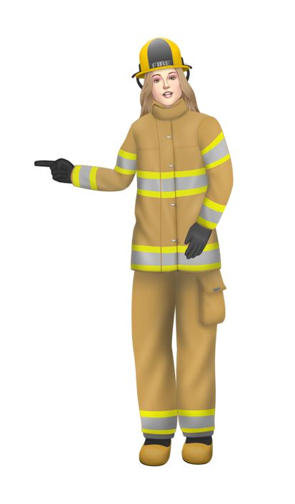 Customized illustration firefighter avatar for eLearning with Adobe Captivate, Techsmith Camtasia and Articulate Storyline.