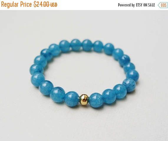 ON SALE Blue Calcite Bracelet / Stretch Gemstone Bracelet /