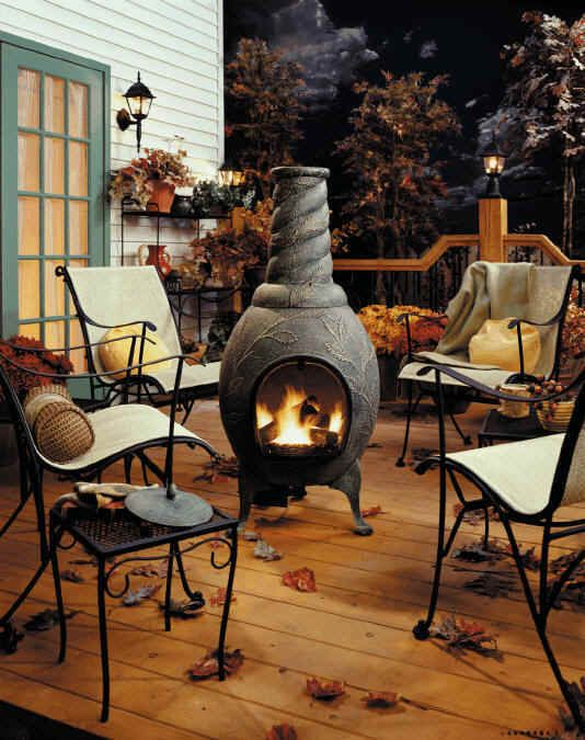 Nice chiminea - creates a cozy place to sit and chat.