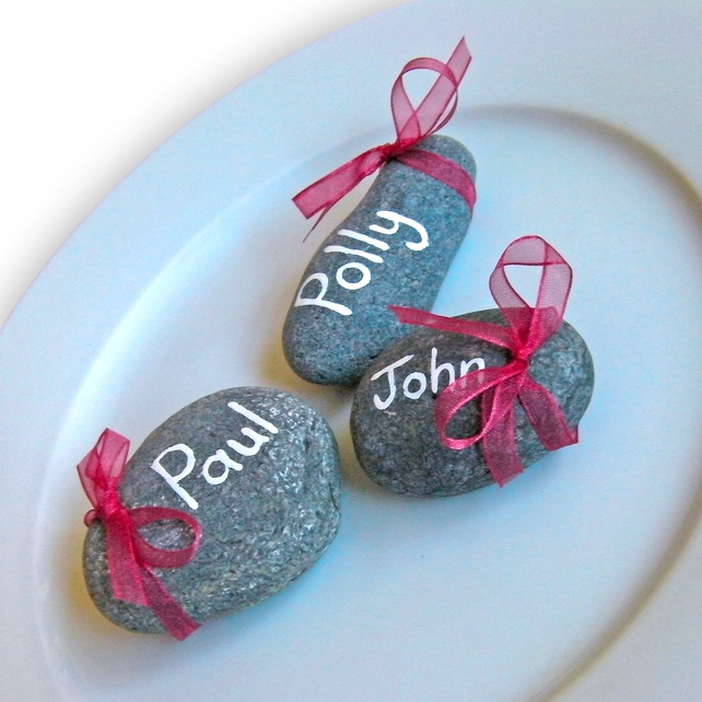 Pebble Wedding Place Names & Favours x30
