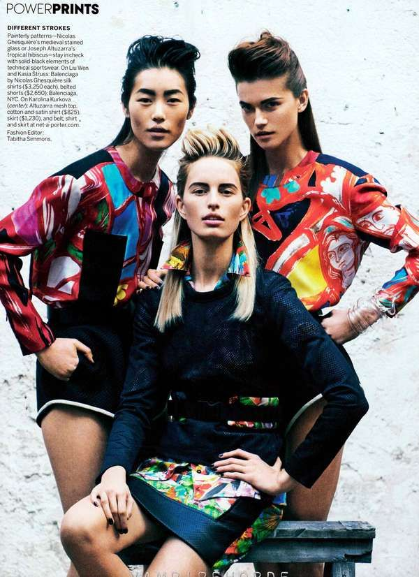 Quixotically Patterned Editorials  Vision Quest by Peter Lindbergh for Vogue Us March 2012