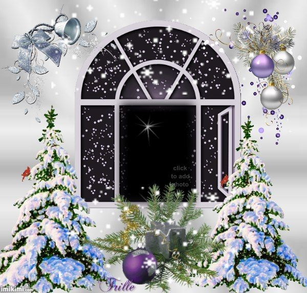 Animated Christmas frame with snow. Click to add your photo to it and share.