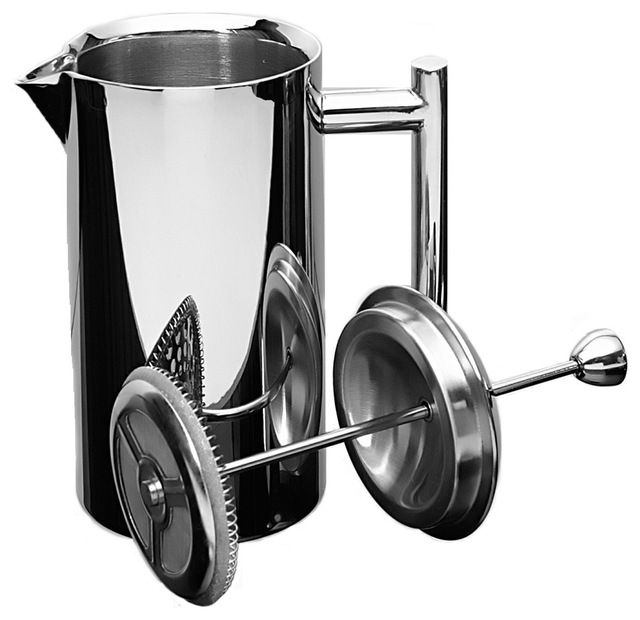 French Press, Mirror Finish, 18/10 stainless steel, 10 oz. contemporary-coffee-makers-and-tea-kettles