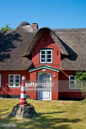 Thatched-roof house in Norddorf, Amrum, Schleswig-Holstein, Germany