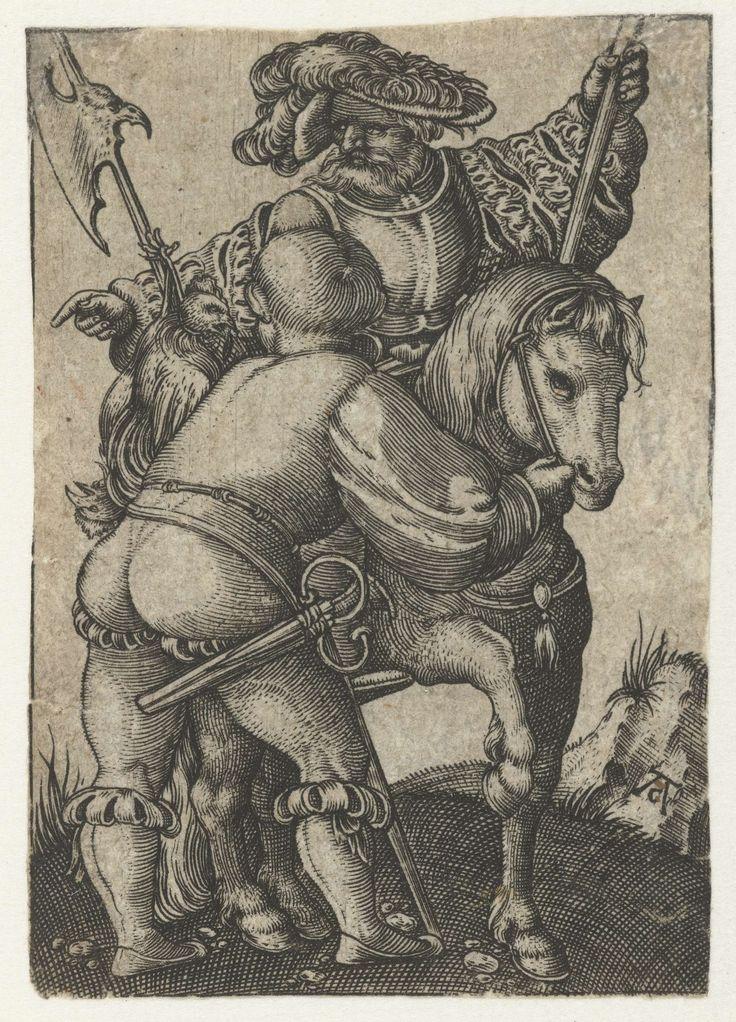 Ruiter en voetknecht, Monogrammist AC (16e eeuw), Jakob Binck, 1520 - 1562