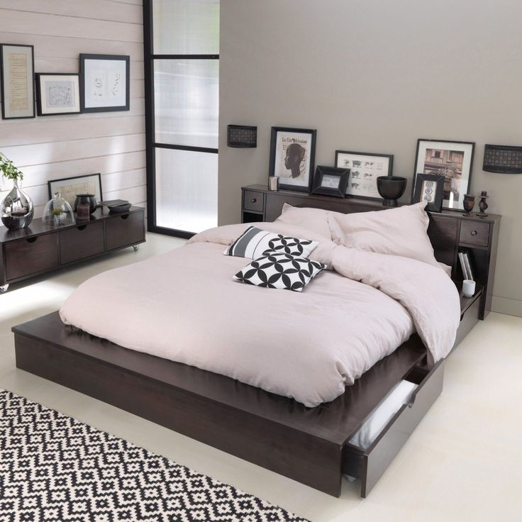 lit plateforme 2 places t te de lit pin massif bolton. Black Bedroom Furniture Sets. Home Design Ideas