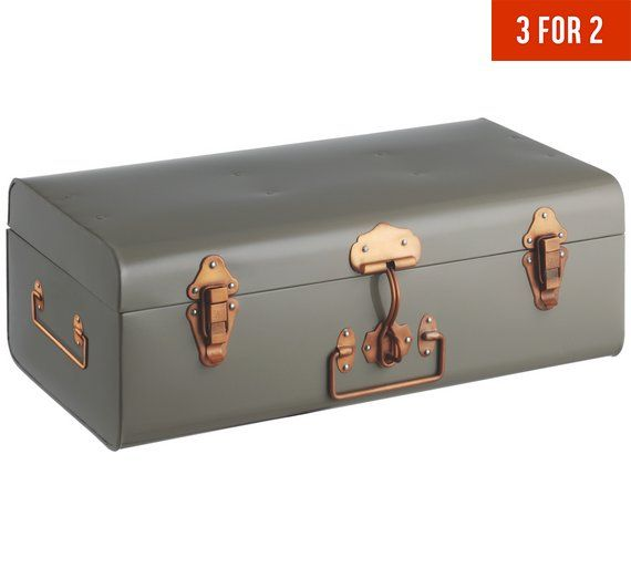 Buy Habitat Small Trunk with Copper Clasps - Grey at Argos.co.uk, visit Argos.co.uk to shop online for Storage baskets and boxes, Storage, Home and garden