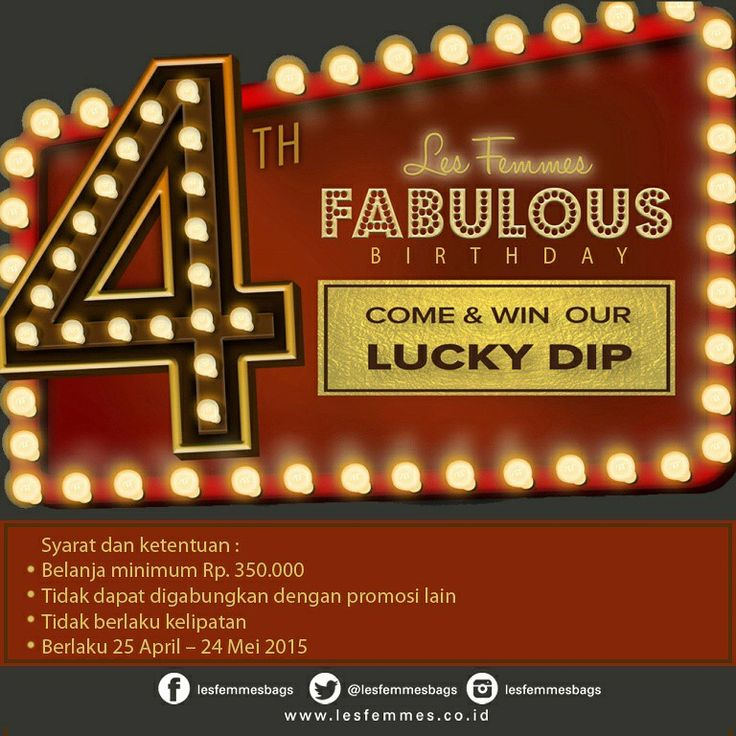 #lastday #promo #shopping #lesfemmesindonesia  4th Fabulous Birthday from @lesfemmesbags Let's come & win lucky dip every minimum purchase IDR 350k *valid until 24 May '15