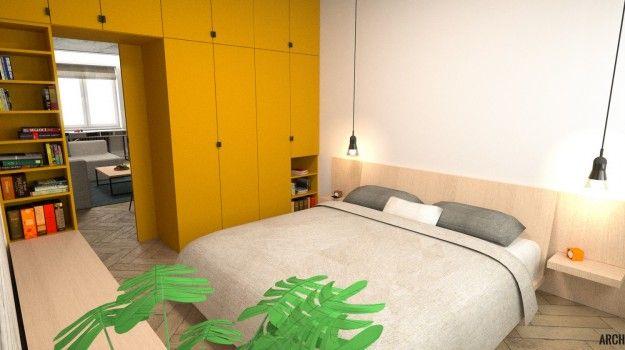 Návrh spálne - Interiér 2-izbového bytu, rekonštrukcia, Tokajícka, Bratislava - Interiérový dizajn / Bedroom interior by Archilab