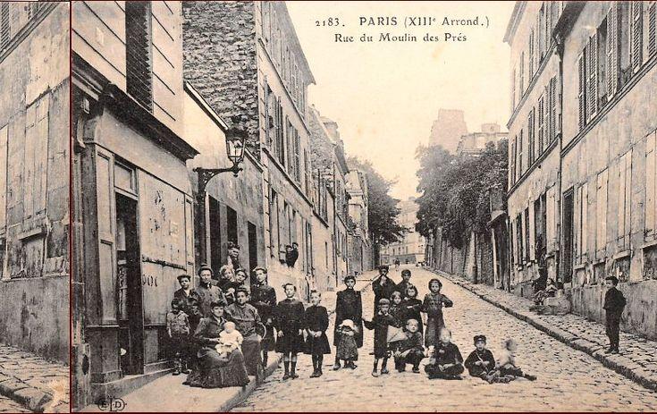 Les habitants de la rue du Moulin-des-Prés, vers 1905  (Paris 13ème)