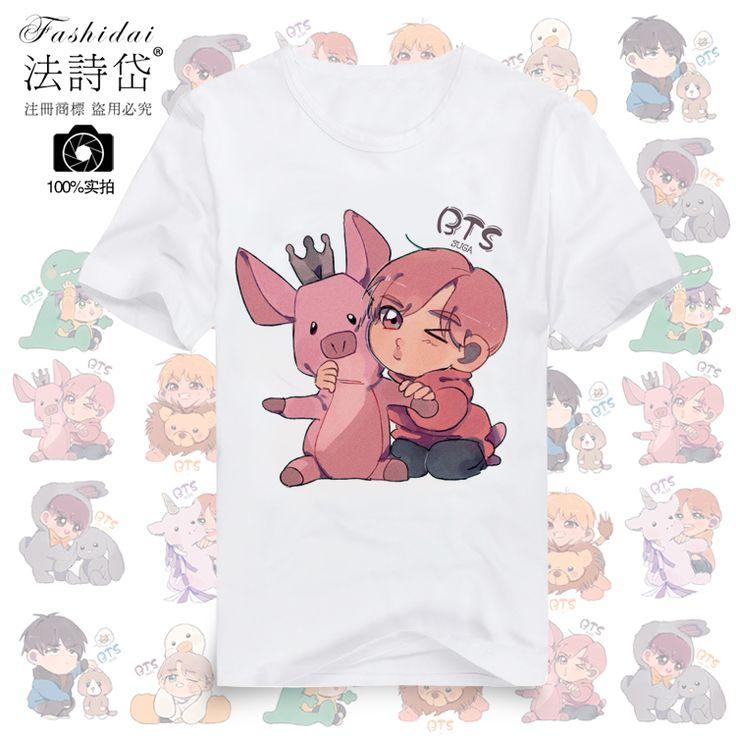 BTS Мин 玧 их пуленепробиваемый мальчик JUNGKOOK мультфильм студентов вокруг футболки с короткими рукавами должны помочь - Taobao