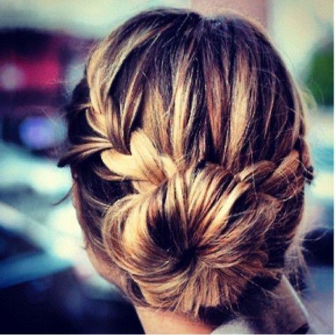 Braid into bun: French Braids, Hair Ideas, Braidbun, Girls Hairstyles, Hair Style, Socks Buns, Updo, Braids Buns, Low Buns
