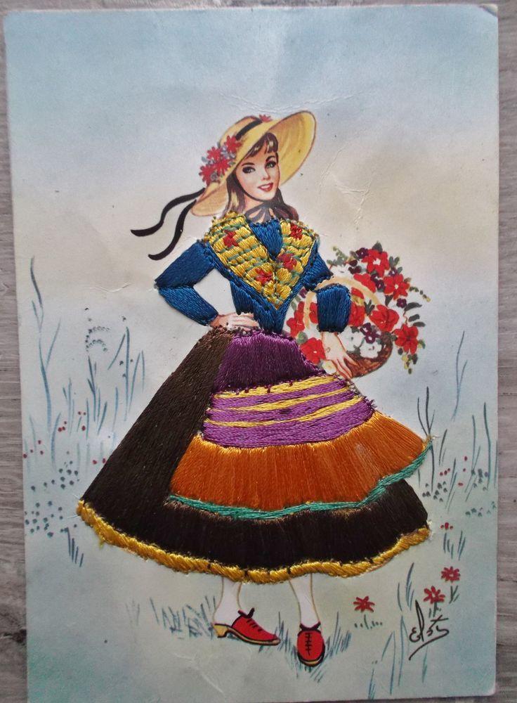 carte brodée Niçoise et son panier de fleurs