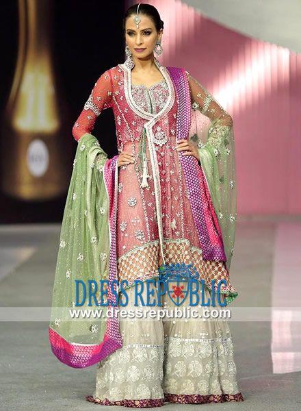 Amazing Pink Angrakha Style Bridal Sharara by Elan Khadijah Shah Elan Bridal Dresses Online Shop the