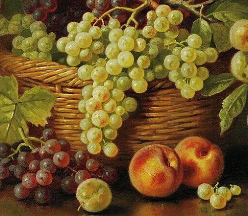John Clinton Spencer Still Life with Basket of Fruit, detail 1917