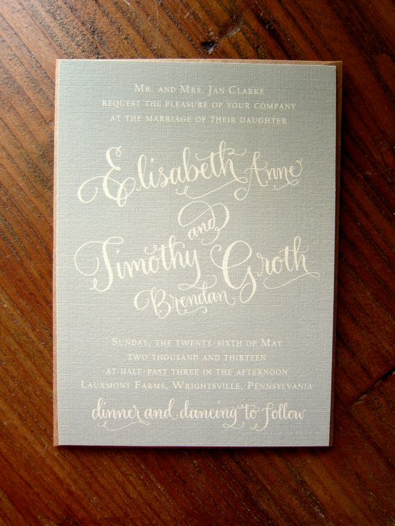Calligraphy Wedding Invitation - Custom Design - Partial Calligraphy Letterpress or Digital Flat Print