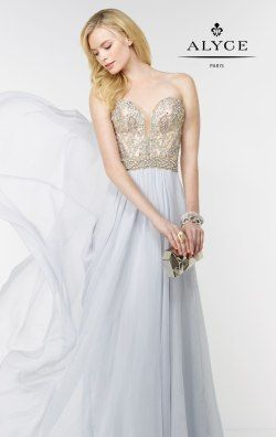 Strapless Beaded Gown by Alyce Prom 6595