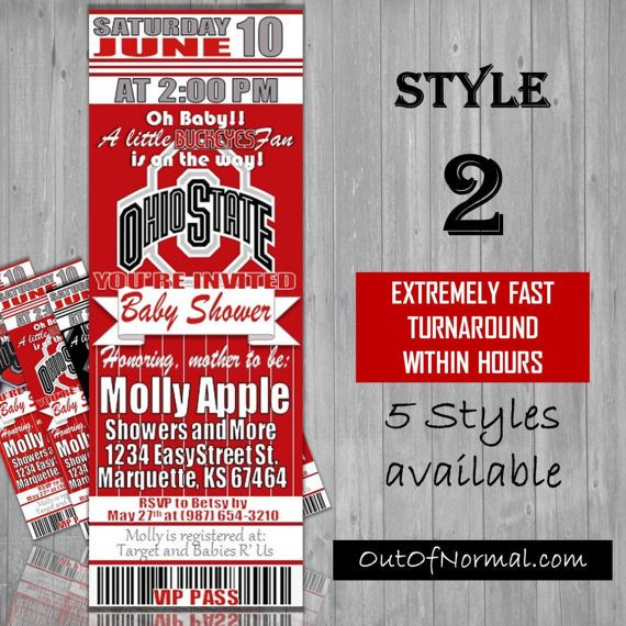 Ohio State Buckeyes Themed Baby Shower Invitation by OutOfNormal
