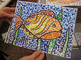 TeachKidsArt: Watercolor Fish with Pointillism