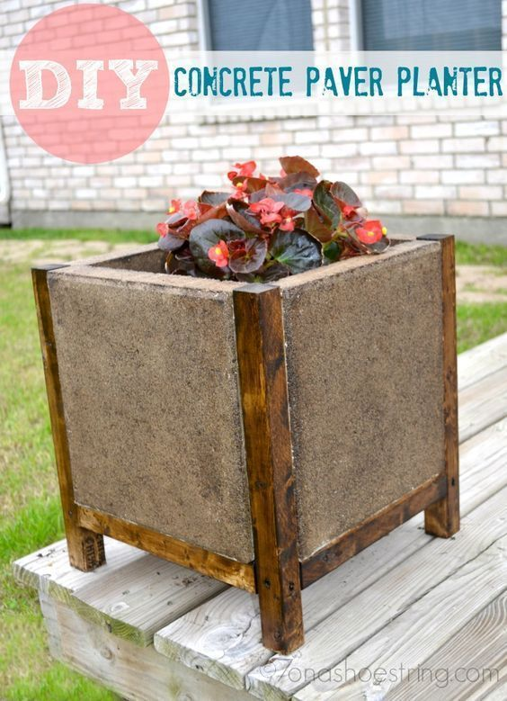 DIY Concrete Paver Planter is a perfect spring time craft!