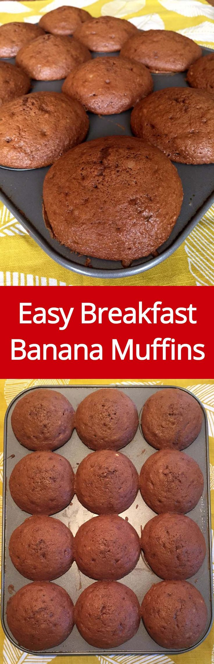 Easy Banana Muffins - these huge muffins are like banana bread in a muffin form!  Perfect for breakfast!   MelanieCooks.com